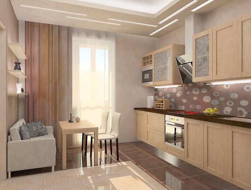 шторы на кухне с балконом