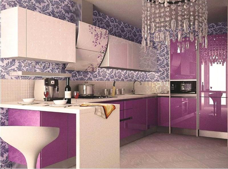 Сиреневая кухня ар-деко