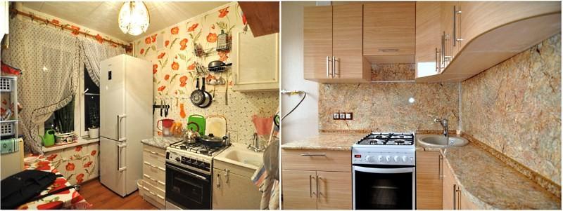 светлая мебель на кухне после ремонта