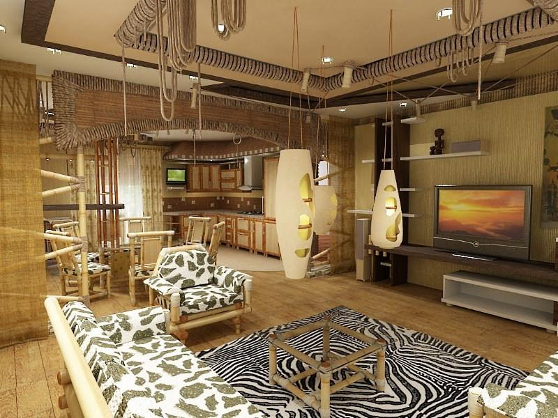 кухня и зал в африканском стиле
