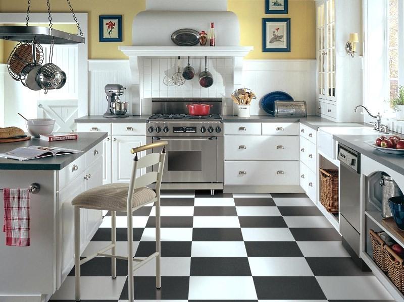 Black floor tiles kitchen