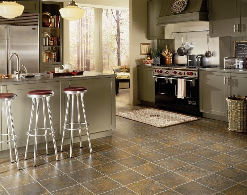 Линолеум под плитку на кухню