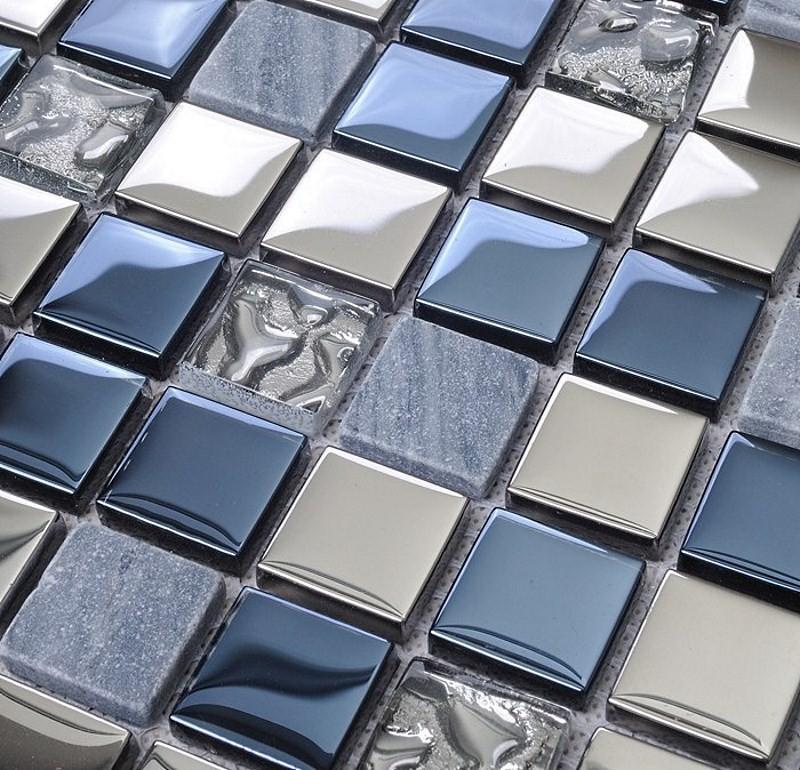 плитка из стекла в голубых тонах
