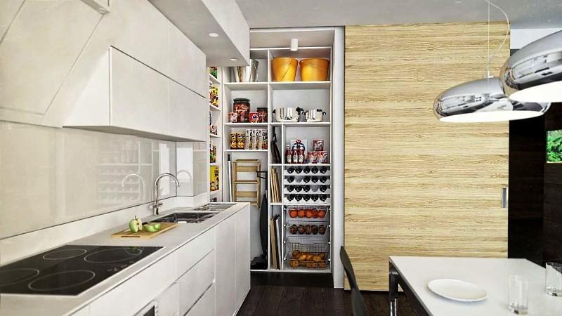 встроенный шкаф в нише на кухне