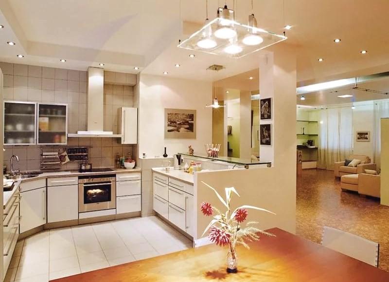 Виды освещения в интерьере кухни