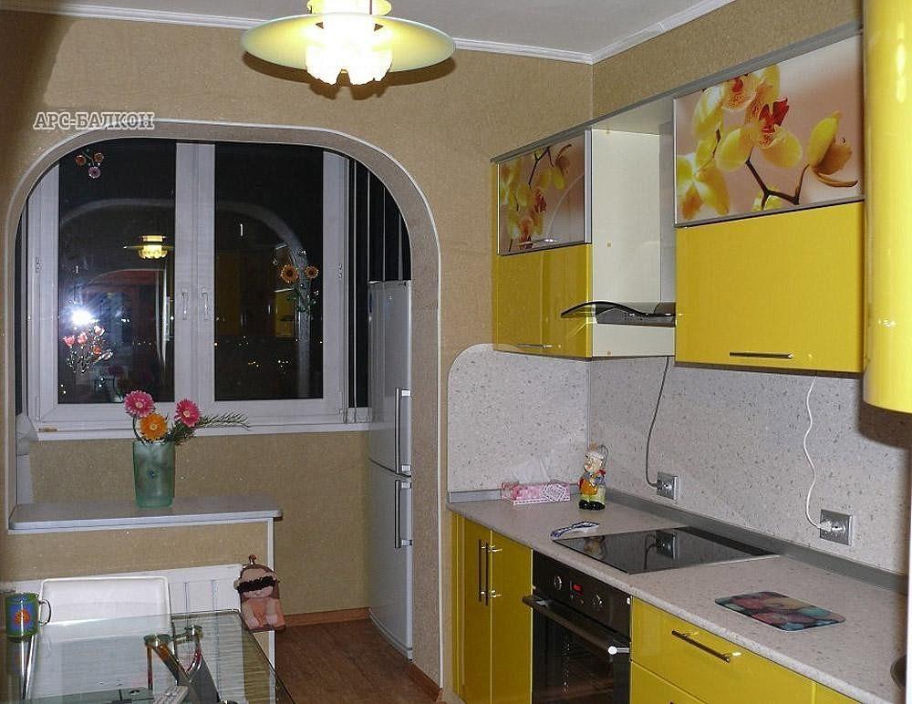 Идеи кухни совмещенной с балконом..