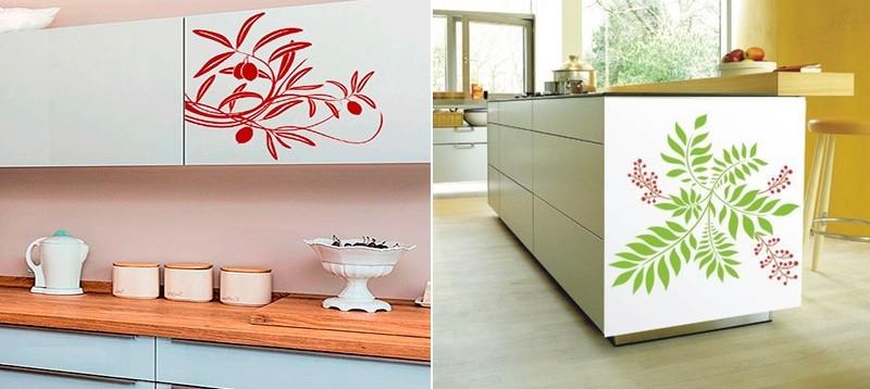 Виниловые наклейки: на кухонной мебели