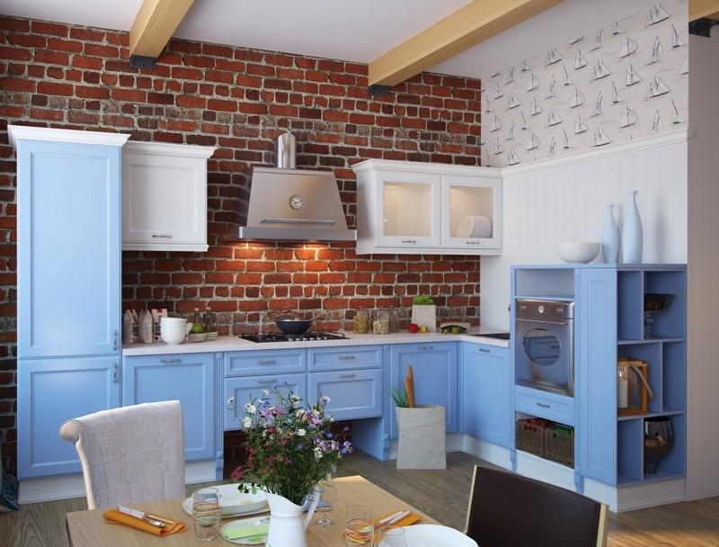 Кухня с голубым интерьером