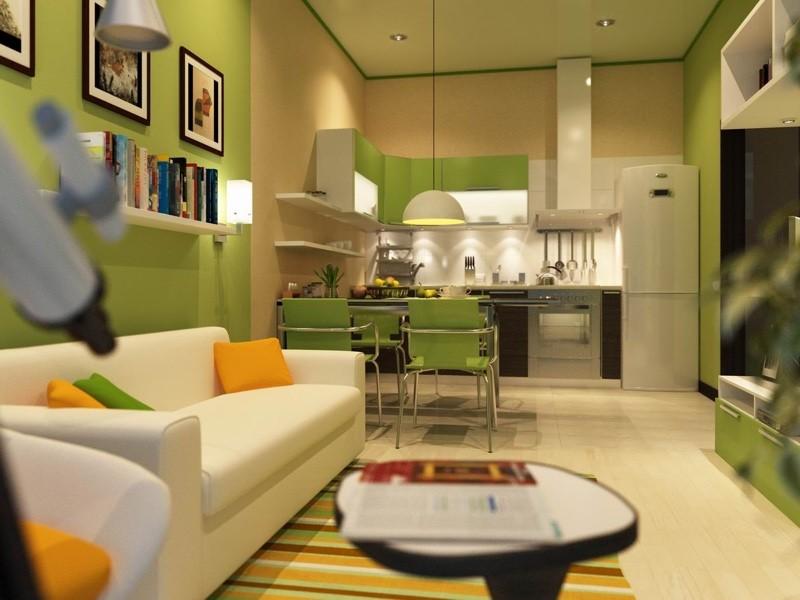 Зеленая на кухня без окна