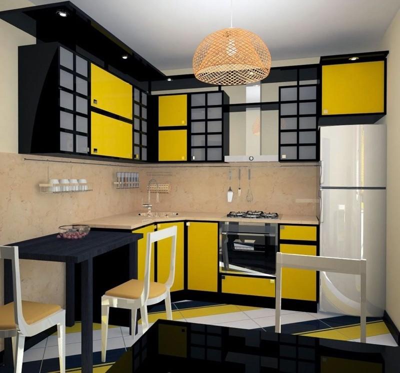 Желто черная кухня