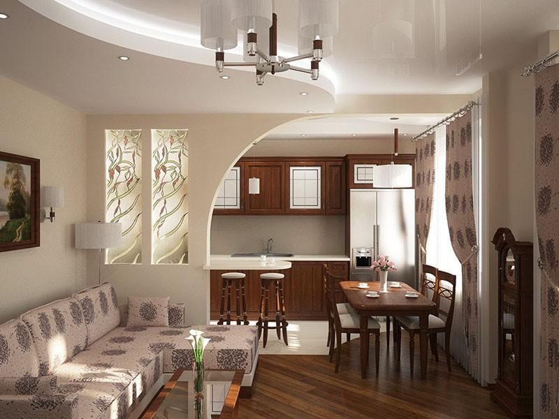 Большой стол совмещенные кухня и гостиная