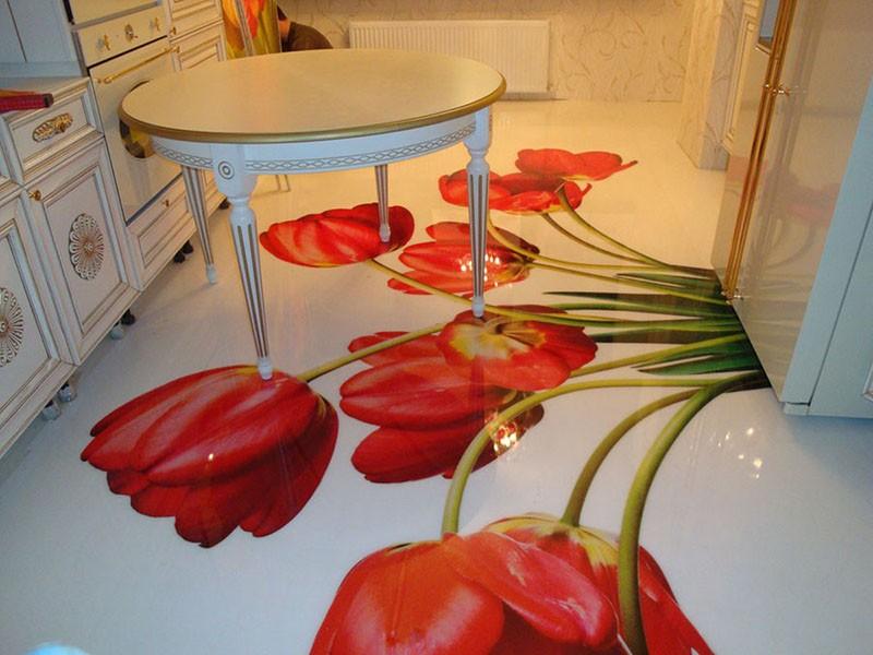 Яркий наливной пол на кухне