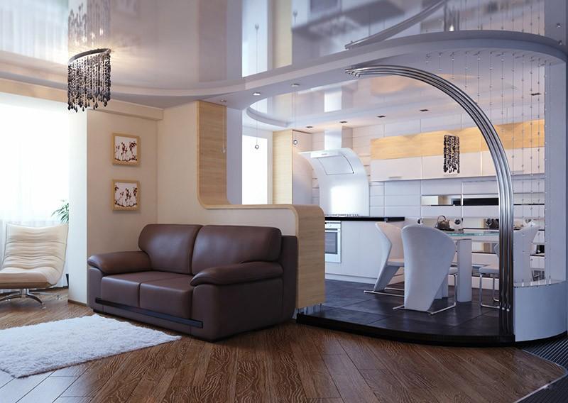 Зонирование кухни пол в два уровня