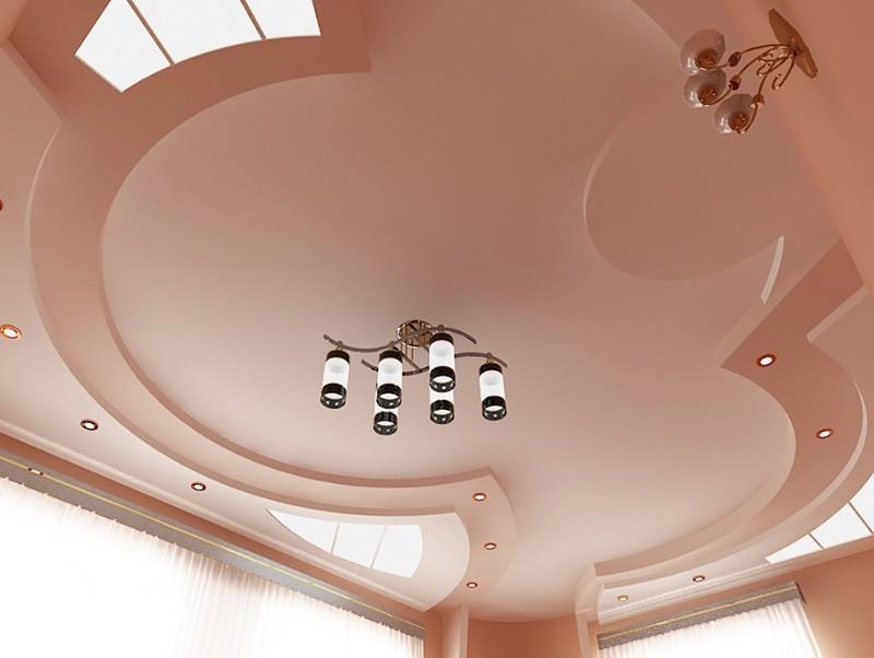 Сложная фигура из гипсокартона на потолке