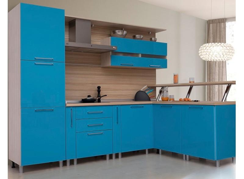 Голубая кухня в стиле модерн