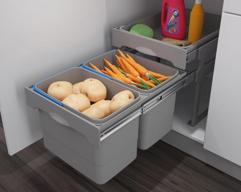Хранение продуктов под раковиной в выдвижных контейнерах