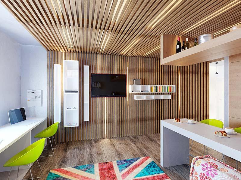 Реечный потолок из дерева на кухне