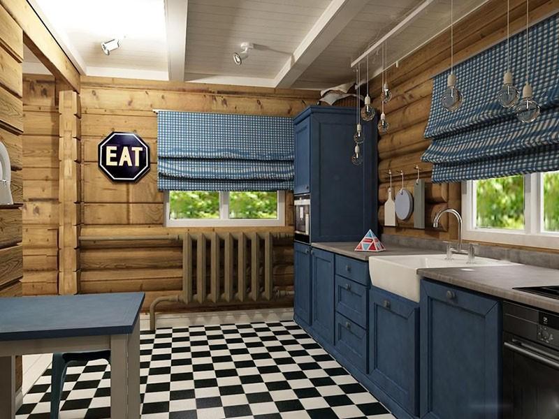 Стиль эклектика на кухне синего цвета