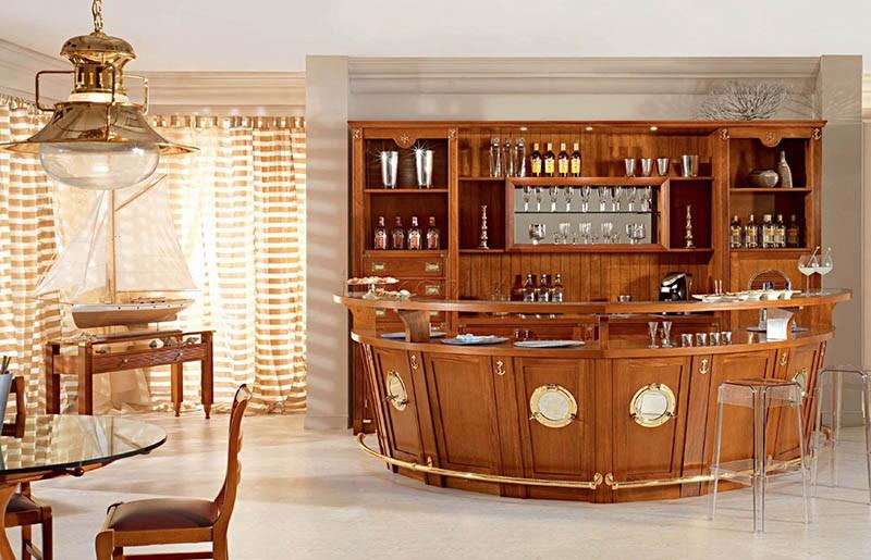 Кухня с барной стойкой в стиле палубы дорогой яхты