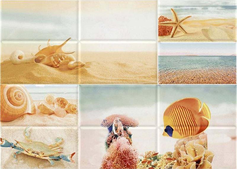 Керамическое панно из разных морских сюжетов