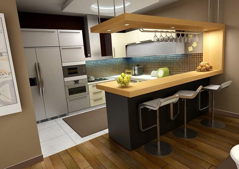 Кухня-студия с барной стойкой из дерева на стыке помещений