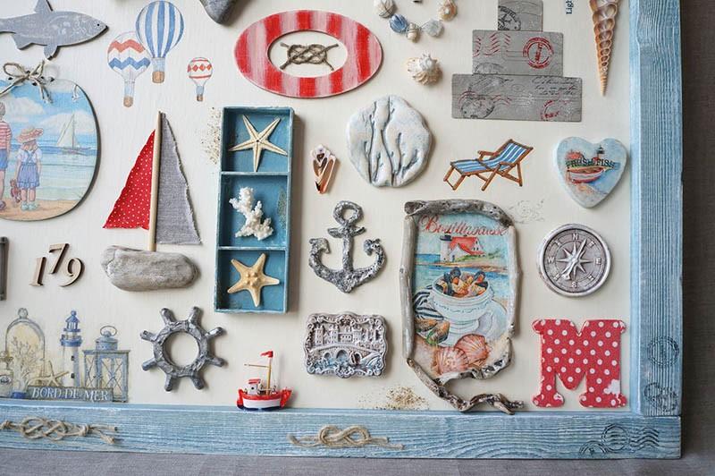 Фрагмент настенного панно с морскими элементами