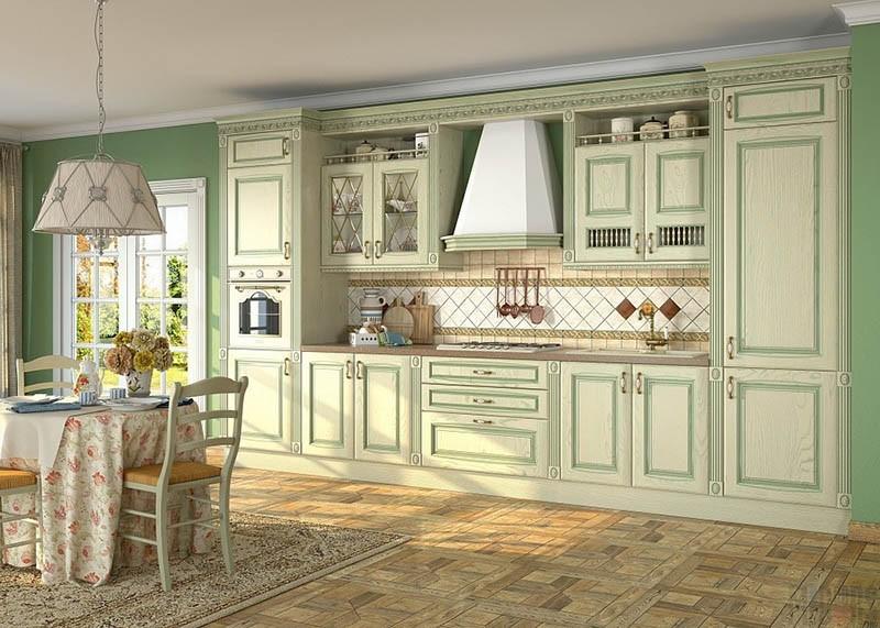 Мебель на кухню из окрашенных фасадов