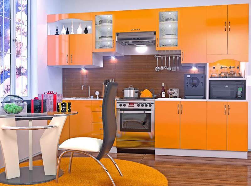 Оранжевый гарнитур - ярко и тепло