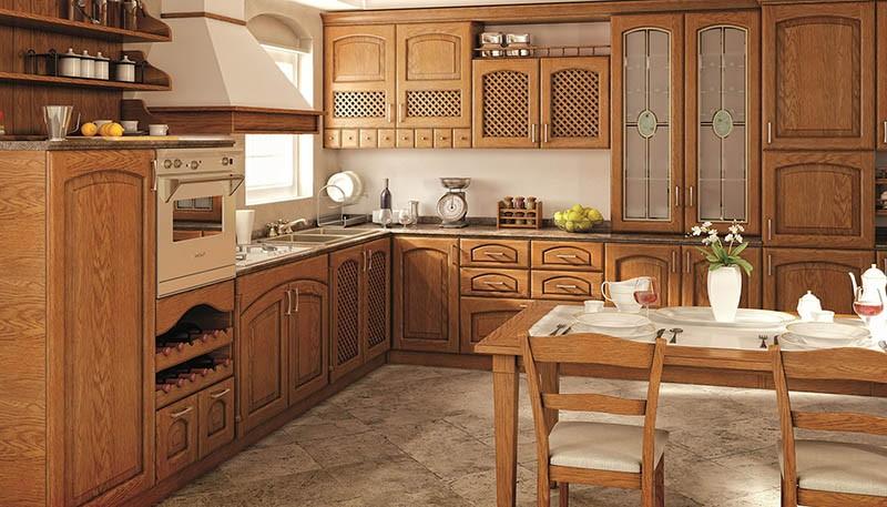 Кухонный гарнитур и обеденная группа из одного материала и в одном дизайне