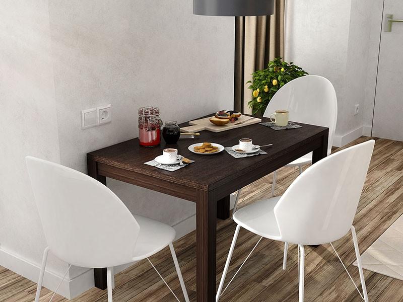 Стол для обедов вплотную к стене длинной стороной