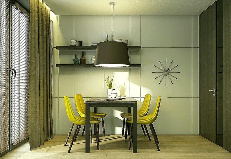 Обеденный стол придвинут к стене короткой стороной