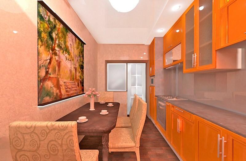 Узкий стол длинной стороной к длинной стене на узкой кухне