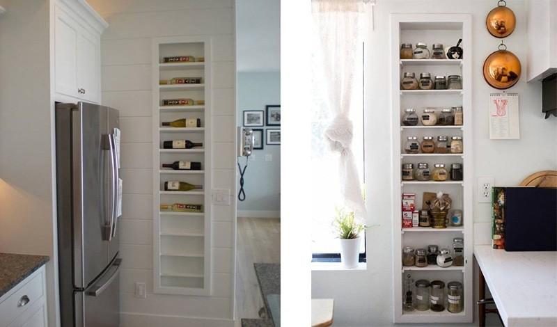 Узкие вертикальные ниши в стене под бутылки вина и баночки со специями