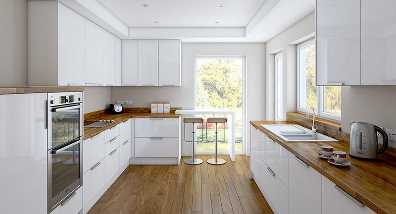Сочетание деревянных элементов интерьера с белым цветом