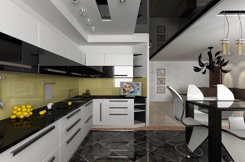Разбавление бело-черного дизайна кухни фартуком желтого оттенка