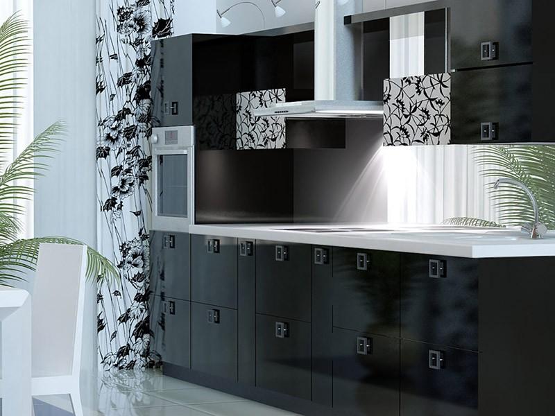 Черно-белый рисунок на шторах и части кухонных фасадов