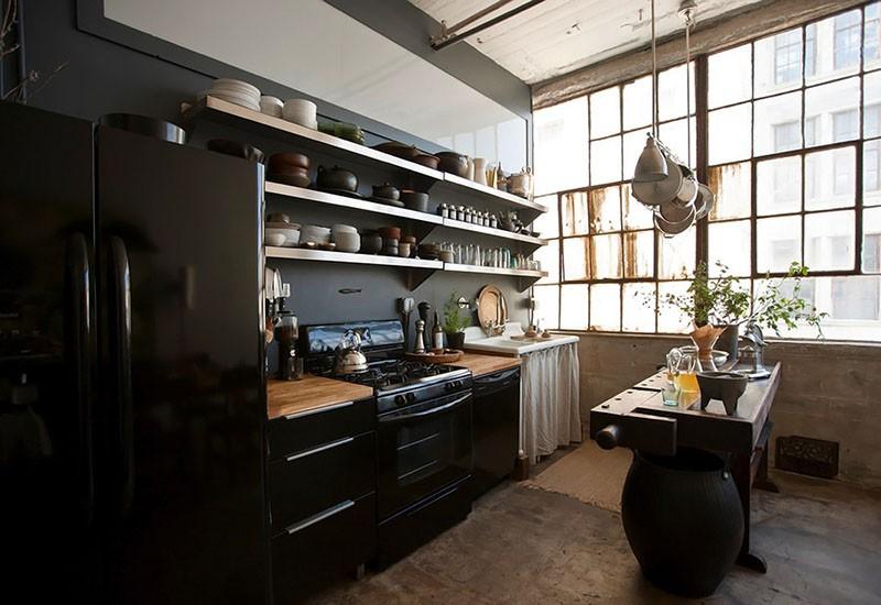 Кухня в большом помещении в стиле индастриал