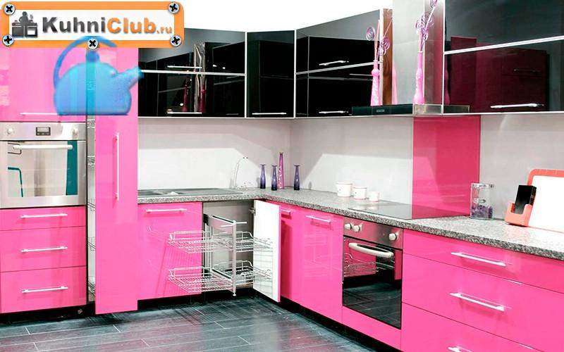 Черно-розовая-кухня