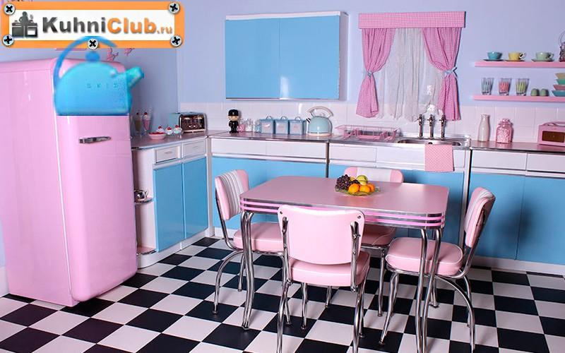Стиль-ретро-розовой-кухни