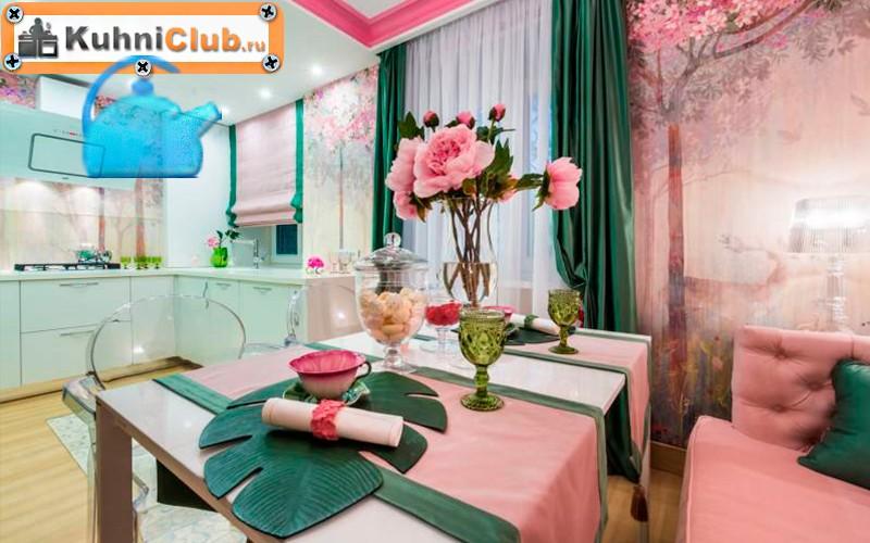 Нежный-розовый-цвет-на-кухне