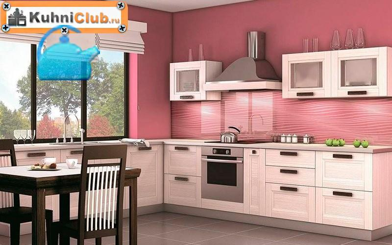 Розовая-стена-акцент-кухни