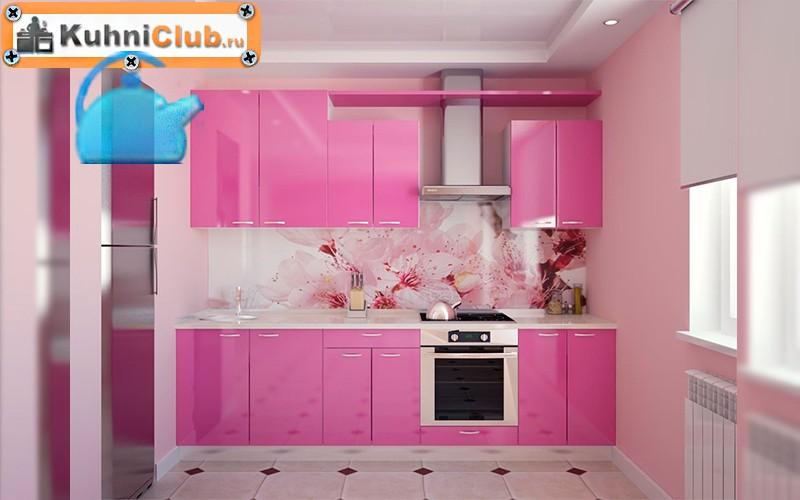 Белый-потолок-небольшой-розовой-кухни