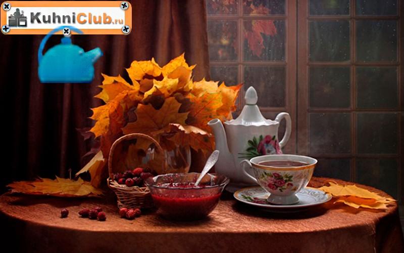 Декор-стола-осенними-листьями