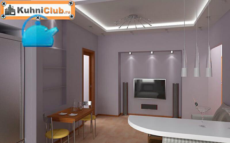 Парящий-потолок-в-кухне-гостиной
