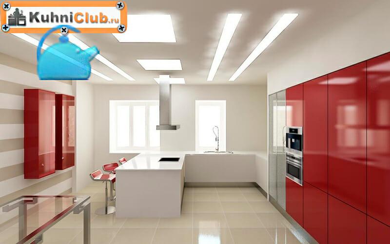Светодиодная-подсветка-потолка-кухни-прямые-линии