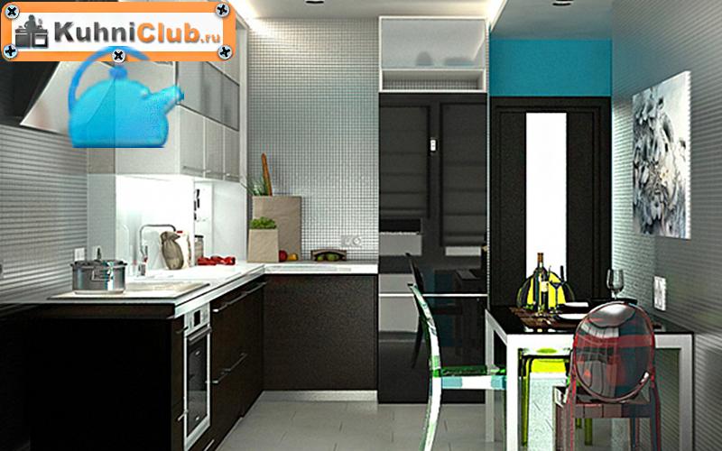 Зеркальный-черный-холодильник-на-кухне