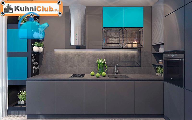 Сочетание-кухонного-фасада-под-бетон-и-бирюзово-синего