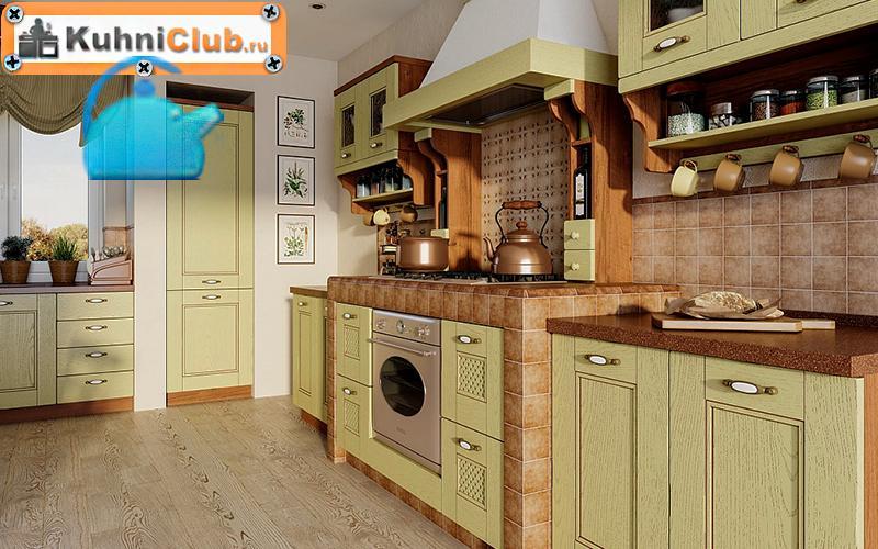 Фисташковая-кухня-в-ретро-стиле