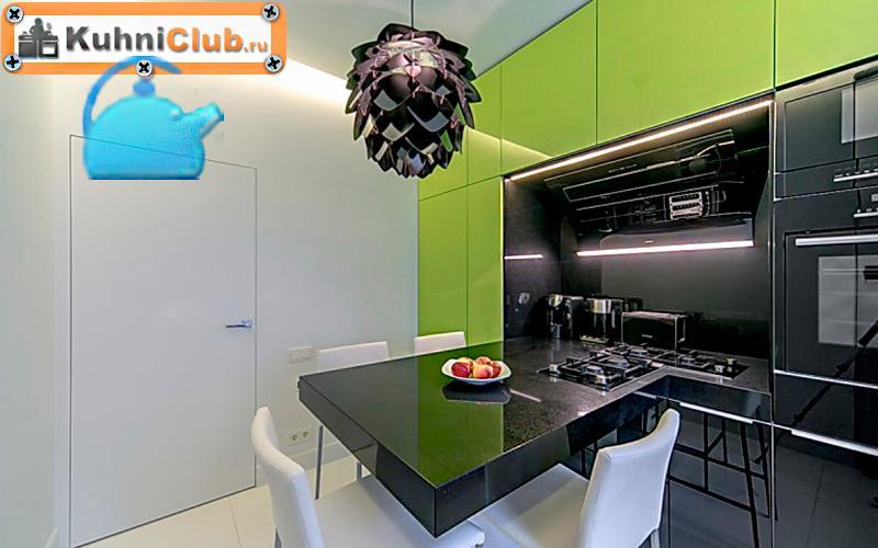 Фисташковая-кухня-в-стиле-хай-тек