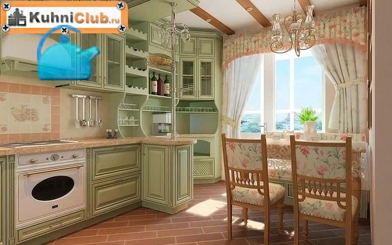 Фисташковая-кухня-в-стиле-прованс-